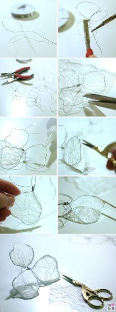 "What you'll need: 5 ½"" lace trim Swarovski flatback rhinestones size ss9 & ss16 Jewelry wire size 6 Metal headband 1 yard of ¼"" satin ribbon Jewelry tools: wire cutter, round nose pliers, flat …"