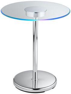 "Jewell LED Glass Edge Round Accent Table Universal Lighting and Decor.  $100.  21"" high 17.75"" wide.  Uses batteries. http://www.amazon.com/dp/B00GA00QI0/ref=cm_sw_r_pi_dp_lXuJub0TDQMVB"