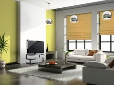 Interior, Modern Living Room Design Ideas With Dark Floor Plan Glass Window Wooden Table Warmth White Rug Comfortable White Sofa Cushion Glossy Flat Television Bamboo Curtain And White And Green Wall: Wonderful Small Home Interior Design Ideas