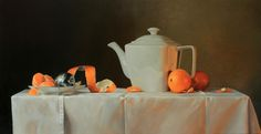 "Realistic painting in oilpaint. ""Tea and mandarins"" www.nataschavandenberg.com"