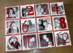 PERSONALIZED Photo Blocks Table NUMBERS...I'm pretty sure I could make these.....for way less than they're asking on Etsy.  :)  Might be our table numbers...we'll have to see!