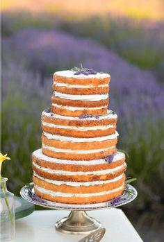 Beautiful naked vanilla lavender cake.by Sweet Stuff. Vintage Lavender Lemon Styled Shoot {Katrina Amburgey Photography} #TheWeddingProject