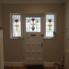 stained glass front doors - Google Search Glass Front Door, Front Doors, Stained Glass, Windows, Mirror, Google Search, Furniture, Home Decor, Entry Doors