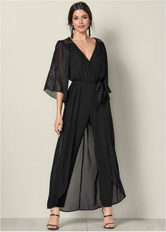 fb2e814f1141 Front View Lace Detail Jumpsuit Rompers Dressy