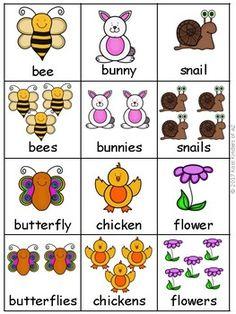 Spring Singular and Plural Noun Sort Plural Nouns Worksheet, Plurals Worksheets, Pre K Worksheets, Printable Preschool Worksheets, English Activities, Writing Activities, Preschool Learning, Preschool Activities, English Grammar For Kids
