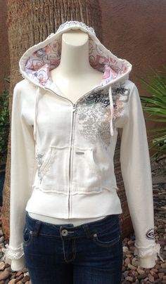 Cream colored/Roxy/repurposed hoodie/teen clothing/recycled t-shirt
