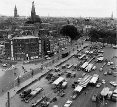 De stad Groningen: Westerhaven met markt gezien naar het oosten 1969