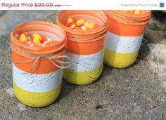 Save 15 Now Fall Candy Corn Weddings Mason by LittleRedHenAndCo, $17.00