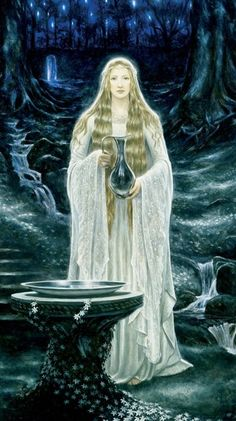 "Divination:  Standing at her scrying pool, ""Galadriel,"" by MattStewart."