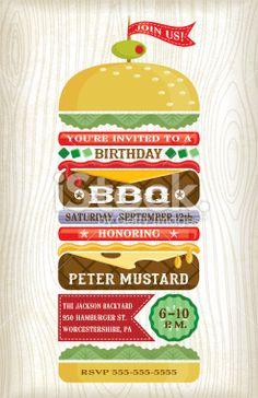 BBQ Hamburger Invitation Royalty Free Stock Vector Art Illustration