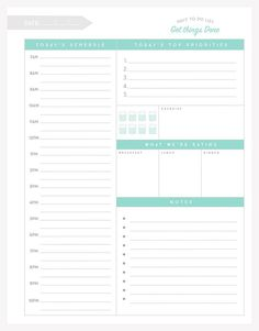 FREE printable Daily To-Do List: a detailed docket of everything you have going on during any given day. Use each space to record your top priorities, your scheduled tasks by time, your meals, and even your water intake.