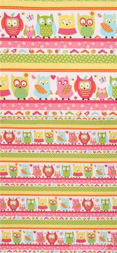 stripe pink yellow owl insect flower fabric Whooo Loves You Owl Fabric, Fabric Flowers, Cotton Fabric, The White Stripes, Modes4u, Pink Yellow, Fabric Patterns, Bunt, Yellow Roses