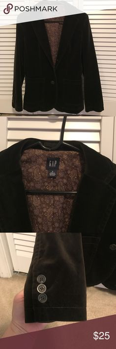 Gap velvet jacket I love this it just doesn't fit anymore. Super cute with a dress for work or you can dress it down wii a white tee and jeans! Gap Jackets & Coats Blazers