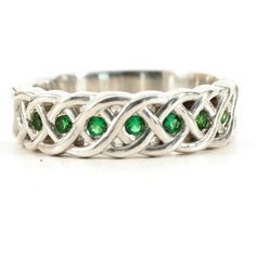 Sterling Celtic Wedding Band, Green Emerald Engagement Ring, Braided Ring, Sterling Silver Celtic Ring, Celtic Engagement, Size 8.5 (4001) by Spoonier on Etsy