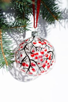 Christmas Ornaments Hand Painted Glass Ornament Tree Brunches with Red Berries, Christmas Decoration Scandinavian decor – christmas decorations Painted Christmas Ornaments, Hand Painted Ornaments, Diy Christmas Ornaments, Christmas Art, Christmas Projects, Holiday Crafts, Christmas Decorations, Half Christmas, Christmas Tree Bulbs