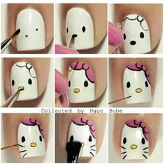 cat nail art designs kitty \ cat nail art - cat nail art easy - cat nail art designs - cat nail art cute - cat nail art halloween - cat nail art step by step - cat nail art designs kitty Cat Nail Art, Animal Nail Art, Cat Nails, Nail Art Diy, Nail Art For Kids, Hello Kitty Nails, Kawaii Nails, Disney Nails, Cute Nail Designs