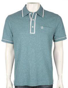 Classic Fit Earl Polo Shirt - Retro Blue Heather knit short sleeve shirts Original Penguin Clothing