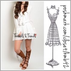 Lace Up Boho Flounce Dress Right on trend boho flounce dress. Featuring bell sleeves, lace up bodice detail, layered flounce rayon fabric. Available in S, M, L Threads & Trends Dresses