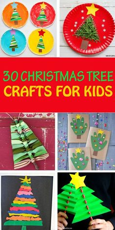 30 Christmas tree crafts for kids to make this winter. Create with paper plates, yarn, paper, pom poms, ribbon, shapes, salt dough, handprint, fingerprint, terracotta, tin cans and more to make decorations, ornaments and cards. #christmastrees #Christmastreecraft #Christmascraftprojectwithkids #Christmascrafts