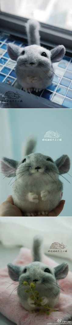 Needle felted chinchilla