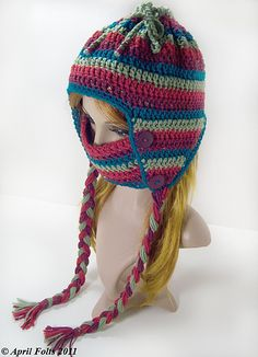 "Pattern available to buy for ""Sledding Hat"" by April Draven."
