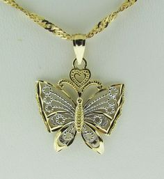 10 Karat white and yellow gold butterfly pendant by VintageJewelryBazaar on Etsy