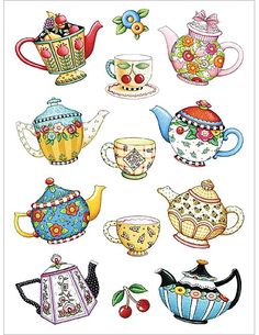 Tea Pots and Cups ♥ Mary Engelbreit Mary Engelbreit, Arte Country, Pintura Country, Clay Teapots, Teapots And Cups, Tee Kunst, Buch Design, Tea Art, Art And Illustration
