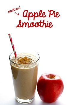 This delicious apple pie smoothie tastes just like apple pie, yet it's made healthy ingredients. Plus it's naturally sweetened and gluten-free! | gimmesomeoven.com