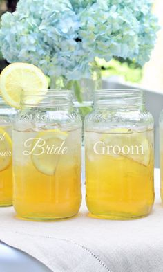 How cute are these engraved Mason Jars? Perfect for a summer or garden wedding. The set of four includes Bride, Groom, Best Man and Maid of Honor.
