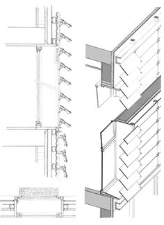 Exterior pivoting louvers on Communication Campus UPF Architecture Drawings, Facade Architecture, High Building, Construction Drawings, Roof Detail, Glass Facades, Architectural Section, Library Design, Detailed Drawings