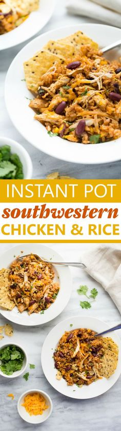 Instant Pot Southwestern Chicken and Rice! Throw everything in the instant pot and walk away. You'll have a delicious, satisfying, healthy dinner 30 minutes later! (Gluten-Free)