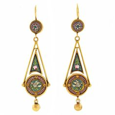 Preowned Antique Micromosaic Gold Dangle Earrings ($4,800) ❤ liked on Polyvore featuring jewelry, earrings, brinco, chandelier earrings, multiple, long chandelier earrings, 14k yellow gold earrings, bohemian earrings, boho earrings and 14k earrings