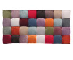 Testiera letto in velluto di poliestere Patchwork Quadrati - 160x80x10 cm | Dalani Home & Living