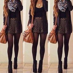 essential winter/fall outfit. 1. skater skirt 2.tights 3. boots 4. top 5. sweater/jacket/whatever 6. scarf