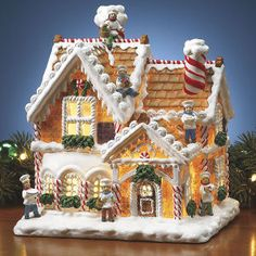 Gingerbread Cottage Light - Gifts, Clothing, Jewelry, Home Decor and Home Furnishings - Unique and Affordable Gifts Gingerbread House Designs, Gingerbread Village, Christmas Gingerbread House, Christmas Cookies, Gingerbread Decorations, Christmas Baking, Christmas Time, Christmas Crafts, Ginger House