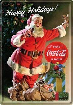 Coca Cola Happy Holidays Metalen Postcard 10 x 14 cm Coca Cola Poster, Coca Cola Ad, Always Coca Cola, World Of Coca Cola, Christmas Scenes, Noel Christmas, Retro Christmas, Xmas, Coke Santa