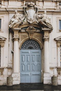 Beautiful old door in Rome, Italy