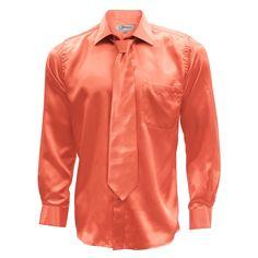 Ferrecci Mens Dress Shirt Necktie & Hanky Set - XS to Big & Tall