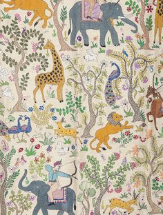 Buy Multi Color Hunting Scene Kantha Embroidered Wall Art by Malika Collection 43in x 42in Tussar Silk Thread Traditional Textile KanthaScapes Hand on Online at Jaypore.com