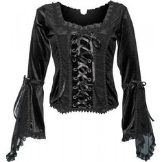 Black velvet top with flowing sleeves, from the Sinister goth clothing collection for women.