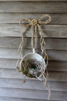 vintage teacup bird's nest-LOVE; def make this myself for nursery!
