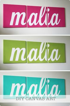 Step one... cut out vinyl letters with your Silhouette Step two... adhere vinyl letters to canvas using premium transfer paper Step three... spray paint Step four... wait for paint to dry and remove vinyl Step five... hang on the wall and enjoy the new pop of color in your room