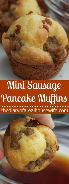 Warm and fluffy, the perfect sweet and savory combination. These Mini Sausage Pa… Warm and fluffy, the perfect sweet and savory combination. These Mini Sausage Pancake Muffins make the perfect easy breakfast recipe. Breakfast Desayunos, Breakfast Items, Sausage Breakfast, Breakfast Dishes, Simple Breakfast Recipes, Easy Breakfast Muffins, School Breakfast, Easy Breakfast Ideas, Breakfast Appetizers
