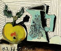 """stilllifequickheart: """" Pablo Picasso Still Life with Apple and Blue Pitcher 1938 """" Pablo Picasso, Picasso Cubism, Picasso Paintings, Oil Paintings, Acrylic Painting Lessons, Oil Painting Abstract, Painting & Drawing, Watercolor Artists, Watercolor Painting"""