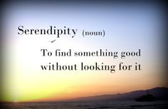 Serendipity - n - To find something good without looking for it.