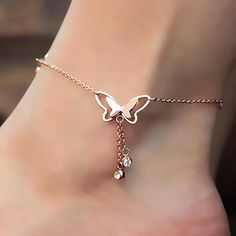 H:HYDE Butterfly Anklet Pendant Tassel Rhinestone Ankle Bracelet Beach Foot Chain For Women Girl Charms Barefoot Sandals Jewelry Rose Gold Anklet, Silver Ankle Bracelet, Foot Bracelet, Ankle Jewelry, Anklet Bracelet, Women's Anklets, Silver Ring, Silver Bracelets, Cute Anklets
