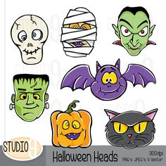 HALLOWEEN HEADS Illustrations Clipart Set ***INSTANT DOWNLOAD*** Upon completed payment you will receive an e-mail with a link to your Dulceros Halloween, Halloween Prints, Halloween Skeletons, Photo Album Scrapbooking, Scrapbook Albums, Digital Scrapbooking, Halloween Templates, Halloween Clipart, Imprimibles Halloween