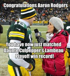 Congratulations, Aaron Rodgers! You have now just matched Daunte Culpepper's Lambeau playoff win record!