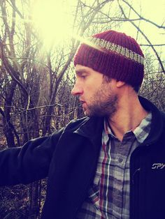 a2ca23292f7 Knit Mens Hat Knitted Red Tan Man Beanie by AutumnAndAmber on Etsy