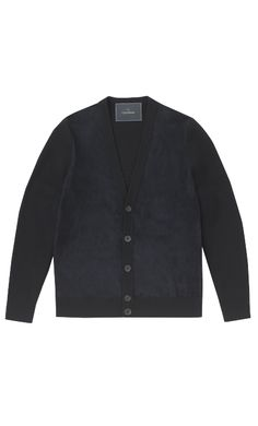 DARK NAVY MERINO WOOL & SUEDE FRONT CARDIGAN - Knitwear - Menswear